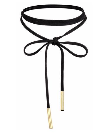 Black Velvet Choker, Long with tie fastening