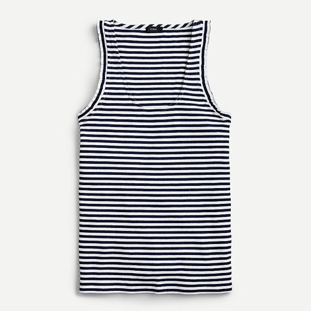 J.Crew: Ribbed Ruffle Tank Top In Stripe