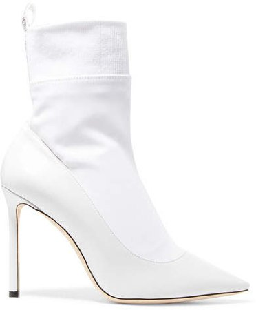 Brandon 100 Leather And Stretch-ponte Ankle Boots - White