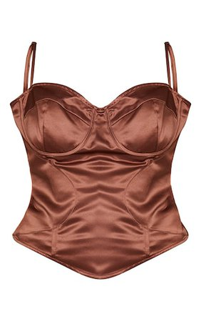 Plus Chocolate Brown Strappy Corset Top   PrettyLittleThing USA
