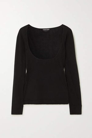 Cashmere And Silk Blend Top - Black