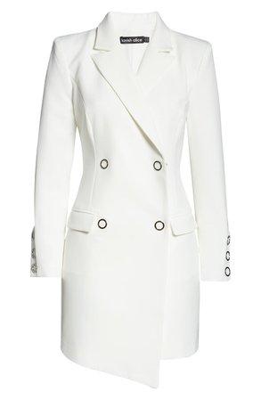 LAVISH ALICE Silver Popper Long Sleeve Blazer Minidress | Nordstrom
