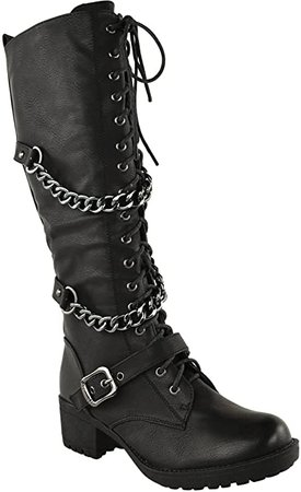 Amazon.com | Fashion Thirsty Womens Knee High Mid Calf Lace Up Biker Punk Military Combat Boots Shoes Size | Mid-Calf