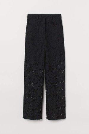 Lace Straight-cut Pants - Black