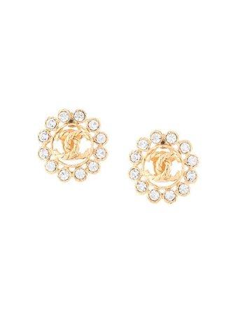 Chanel Pre-Owned 1993 Rhinestone CC clip-on Earrings - Farfetch