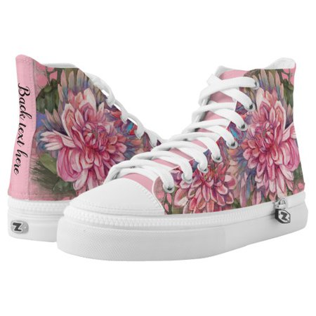 Dahlias flowers pink rose watercolor pattern High-Top sneakers | Zazzle.com