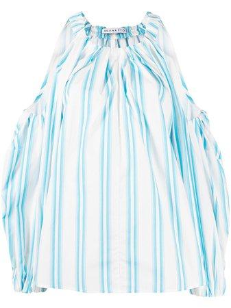 Rejina Pyo stripe-print cut-out balloon-sleeved Blouse - Farfetch