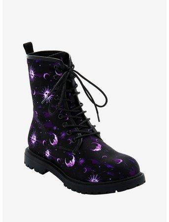 Purple Celestial Combat Boots