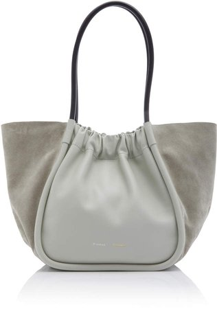 Large Ruched Leather and Suede Tote