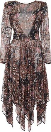 Etro Draped Printed Silk Dress Size: 38
