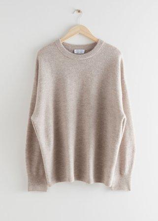 Oversized Wool Knit Jumper - Beige - Sweaters - & Other Stories