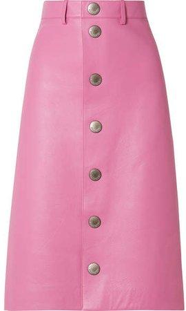 Leather Midi Skirt - Baby pink