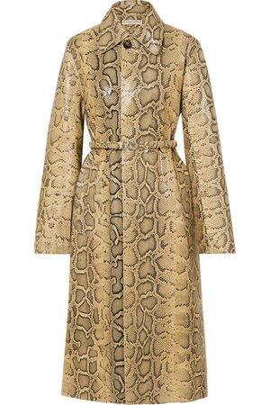 Bottega Veneta   Snake-effect leather trench coat   NET-A-PORTER.COM