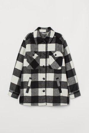 Oversized Shacket - Black/white checked - Ladies | H&M US