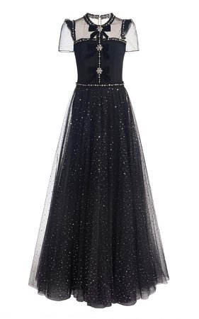 Jenny Packham Embellished Tulle-Crepe Gown