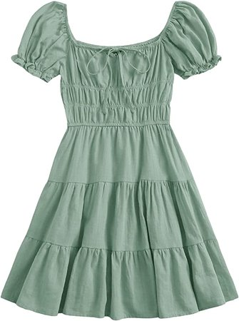 SheIn Women's Short Puff Sleeve Ruched Mini A Line Dress Ruffle Tie Front Square Neck Short Dresses at Amazon Women's Clothing store