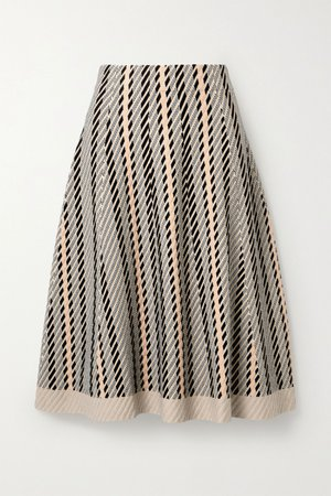 Neutral Striped textured wool-blend midi skirt | Akris | NET-A-PORTER