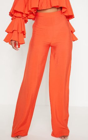 Bright Orange Woven High Waisted Wide Leg Trouser | PrettyLittleThing