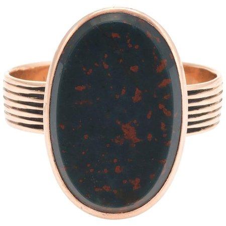 Antique Victorian Bloodstone Ring 14 Karat Rose Gold Oval Signet Mount Estate For Sale at 1stdibs