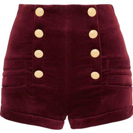 Pinterest Pierre Balmain Velvet shorts in Red