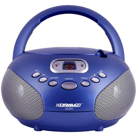 Portable CD Boombox Sound System with Top-Loading CD Player, AM/FM Radio and Aux Line-In Koramzi CD35(Blue)-New - Walmart.com