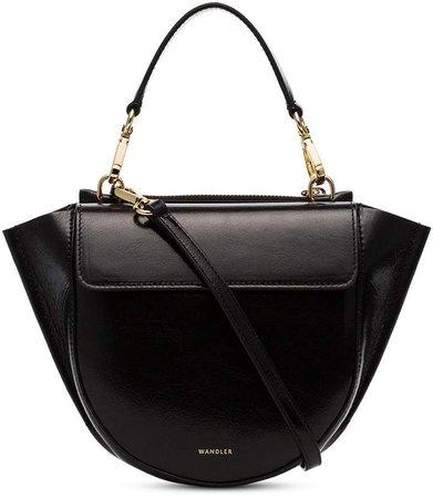 Black Hortensia Mini lamb skin shoulder bag