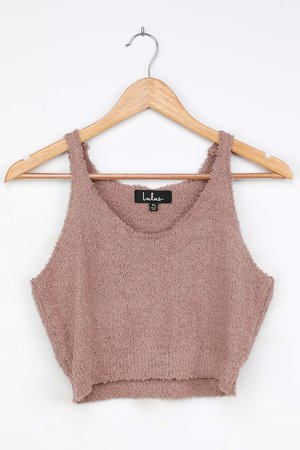 Taupe Fuzzy Sweater Top - Cropped Tank Top - Lounge Tank Top - Lulus