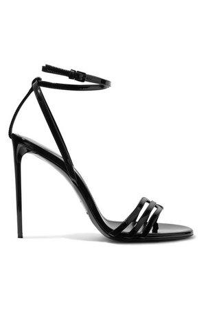 Saint Laurent   Amber patent-leather sandals   NET-A-PORTER.COM