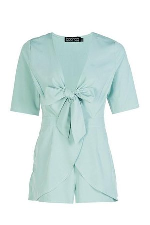 Petite Knot Front Plunge Playsuit | Boohoo blue