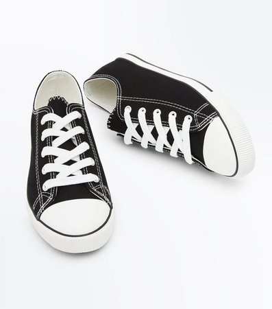 Black Canvas Stripe Sole Trainers | New Look