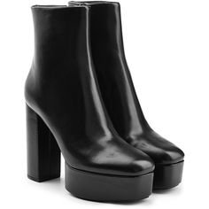 Alexander Wang Leather Platform Ankle Boots (32.210 RUB) ❤ liked on Polyvore featuring shoes, boots, ankle booties, heels, обувь, black, leather ankle boots, black leather bootie, black ankle boots and black leather ankle booties