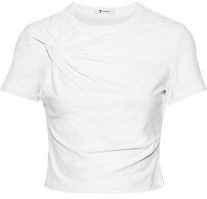 Cropped Twisted Stretch-cotton Jersey T-shirt