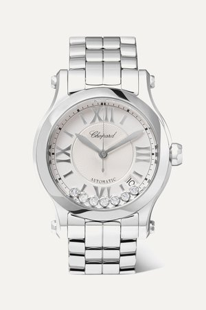 Silver Happy Sport Automatic 36mm stainless steel and diamond watch | Chopard | NET-A-PORTER