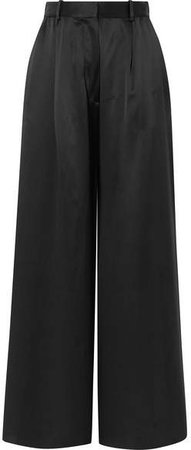 Belle Silk-satin Wide-leg Pants - Black