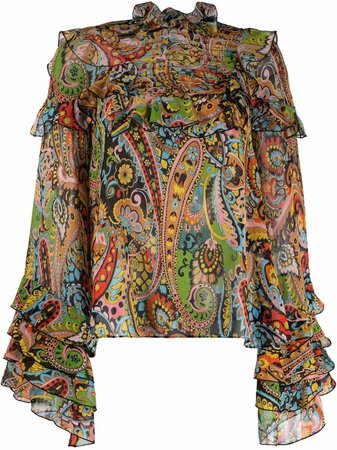 Shop Etro flared paisley silk blouse with Express Delivery - FARFETCH
