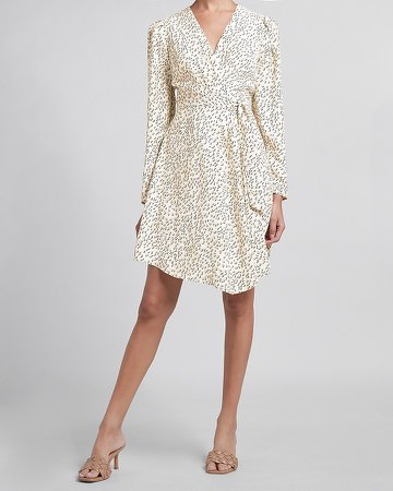 Leopard Puff Sleeve Wrap Dress