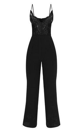 Black Lace Wide Leg Jumpsuit. Jumpsuits | PrettyLittleThing USA