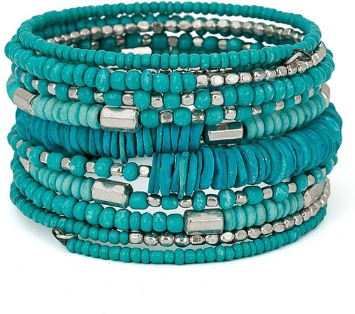 Amazon.com: SPUNKYsoul Handmade Bohemian Coil in Aqua Teal and Silver Bracelet for Women Collection: Clothing