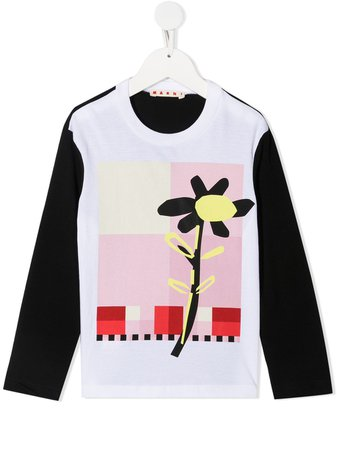 Shop black & white Marni Kids graphic print long-sleeve T-shirt with Express Delivery - Farfetch