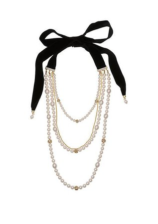 Laundry by Shelli Segal Multi Strand Pearl Necklace with Rondells and Black Velvet Tie Back