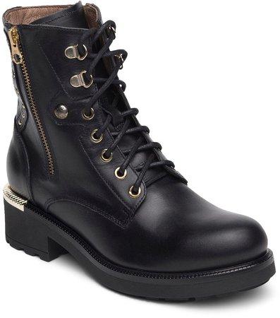 Dual-Zip Leather Combat Boot