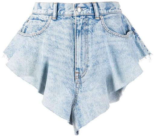 Runway ruffled denim shorts