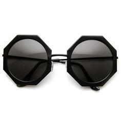 Womens Oversize Metal Geometric Octagon Round Sunglasses