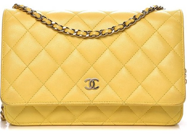 Chanel Wallet On Chain Quilted Diamond Yellow
