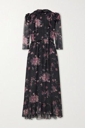Nicolette Ruffled Floral-print Silk-chiffon Midi Dress - Black