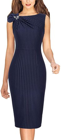 VFSHOW Womens Dark Blue and White Striped Pleated Asymmetric Bow Neck Work Office Business Cocktail Party Bodycon Pencil Sheath Dress 6086 BLU XS at Amazon Women's Clothing store