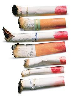 cigarette butts with red lipstick on - Google Search