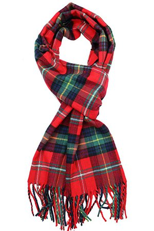 Achillea Classic Plaid Check Cashmere Feel Winter Scarf (Red Green Tartan Plaid) at Amazon Women's Clothing store