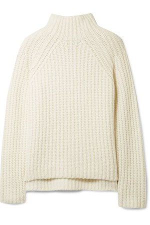 THEORY Rifonia Chunky-Knit Wool-Blend Turtleneck Sweater in Ivory
