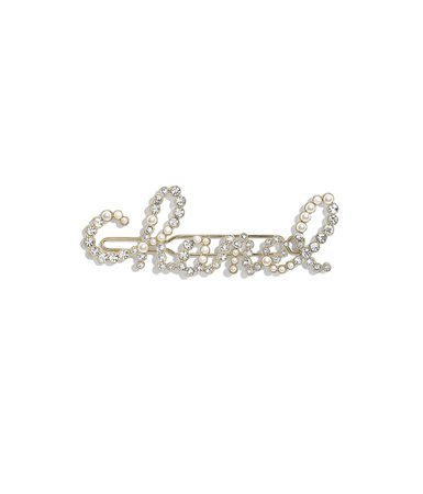 Hair Clip, metal, glass pearls & strass, gold, pearly white & crystal - CHANEL